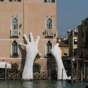 Giant Hands in the Grand Canal, Venice, by Lorenzo Quinn